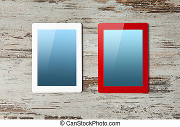 red and white tablet computer with blue screen