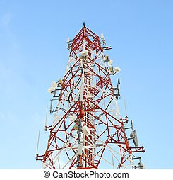 Red and white tower of communications