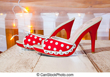 Red and White Wedding Shoes