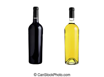 Red and white wine bottles isolated