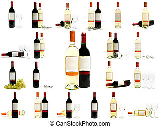 red and white wine bottles set - red and white wine bottles...