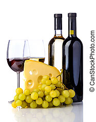 wine, cheese and grapes