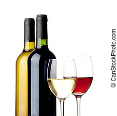 Red and white wine isolated on white - Red and white wine in...