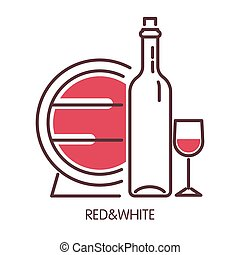 Red and white wine promotional poster with barrel and bottle