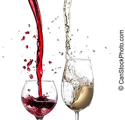 Red and white wine splash over white background