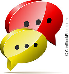 Red and yellow 3D speech bubbles.