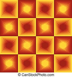 Red and yellow abstract background, checker patterns with blending hexagon texture