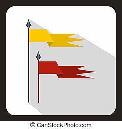 Red and yellow ancient battle flags icon - icon in flat...