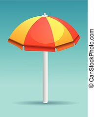 Red and yellow beach umbrella vector illustration isolated on gradient background