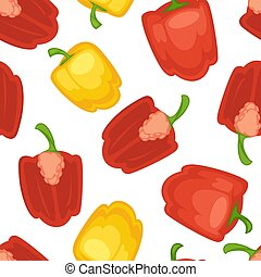 Red and yellow bell pepper vector seamless pattern.