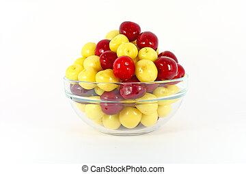 Red and yellow cherries