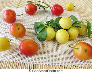 Red and yellow cherry plums