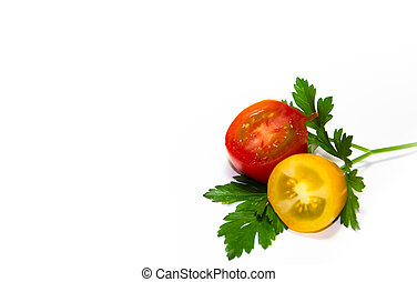 red and yellow cherry tomatoes on white background