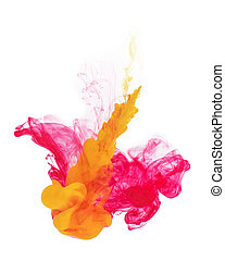 Red and yellow color paint pouring.