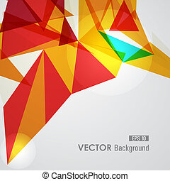 Trendy yellow and red transparent triangles abstract background illustration. EPS10 vector with transparency organized in layers for easy editing.