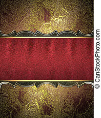 Red and yellow gold background with a red ribbon
