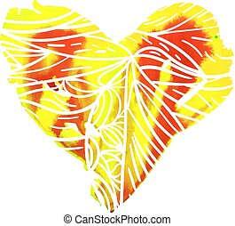 heart illustration for st. valentine day - red and yellow...