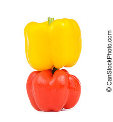 Red and yellow isolated bell pepper