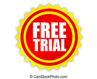 label free trial - red and yellow label free trial over ...