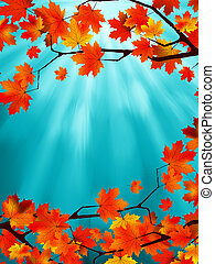 Red and yellow leaves against a blue sky. EPS 8