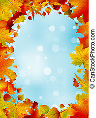 Red and yellow leaves against blue sky. EPS 8