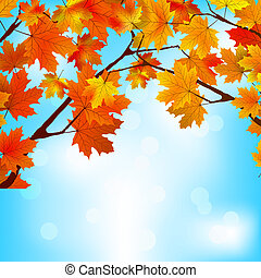 Red and yellow leaves against bright sky. EPS 8