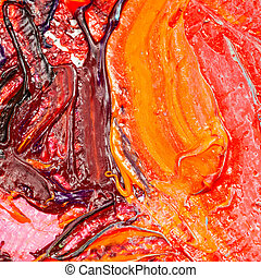red and yellow oil paint brush strokes on canvas
