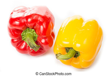 Red and Yellow paprika isolated