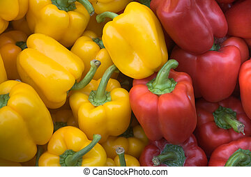 Red and yellow pepper vegetables