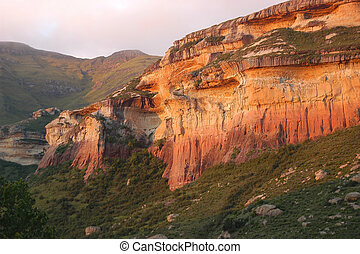 Red and yellow sandstone cliffs in the Golden Gate Highlands...