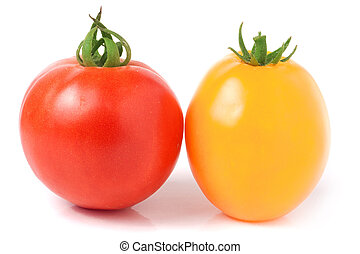 red and yellow tomatoes isolated on a white background