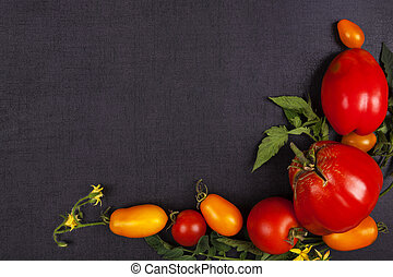 Red and yellow tomatoes.