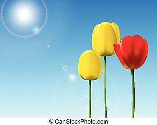 Red and yellow tulips on a blue sky background
