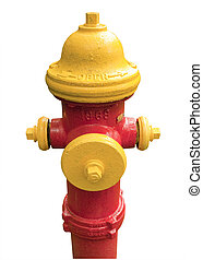 Red and yellowfire hydrant isolated