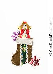 Red Angel in brown Christmas sock