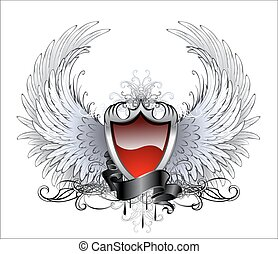 red angel shield - red shield with a silver stylized angel...