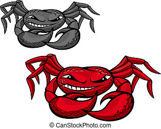 Red angry crab with claws