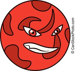 Red angry mars planet vector or color illustration