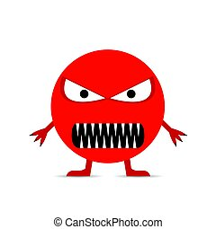Red angry smiley face isolated on the white background