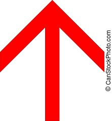 Red angular up arrow icon on a white background