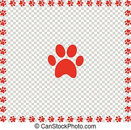 Red animals pawprint icon framed with paw prints square border