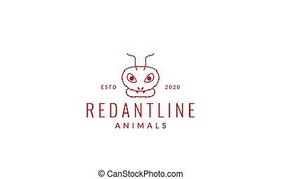 red ant head modern line logo vector illustration design