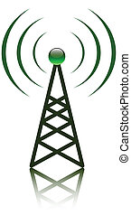 Red antenna mast sign - Green antenna mast sign on white