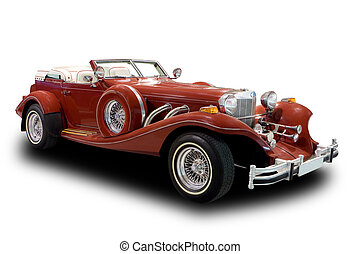 Antique Car - Red Antique Car Isolated on White