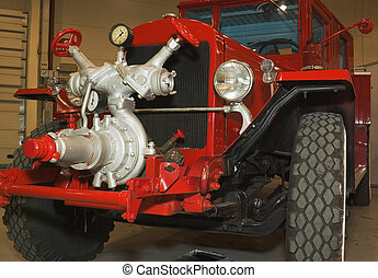 firefighters truck - red antique restored firefighters truck...