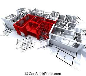 Red apartment mockup on blueprints