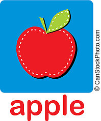 Red apple - An icon of red apple over a blue background. ...