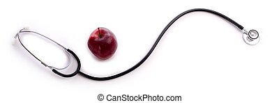 Red Apple and a Stethescope - A red apple and a doctor or ...