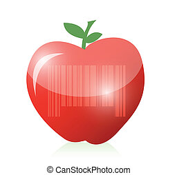 red apple and barcode illustration design