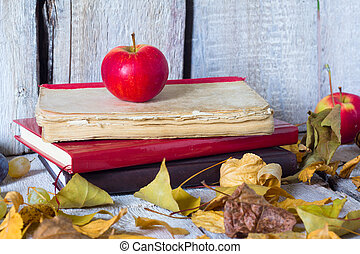 red apple and book on white wooden background, autumn concept.